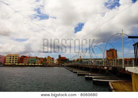 Willemstad with floating bridge Emma, Dutch Antilles