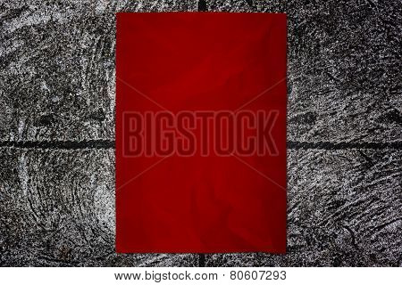 Red Paper On Cement Wall