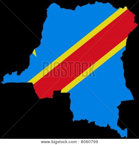 Democratic Republic of Congo map with flag