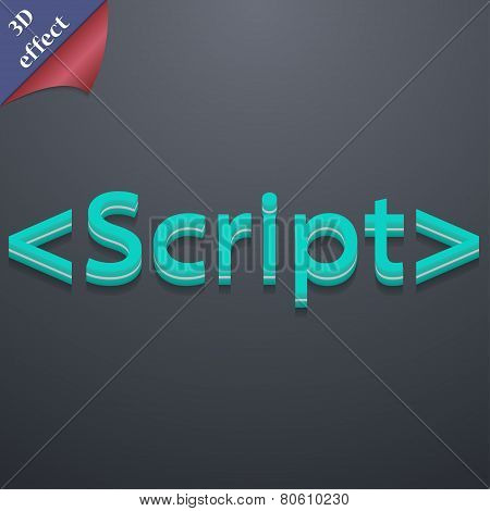 Script Icon Symbol. 3D Style. Trendy, Modern Design With Space For Your Text Vector