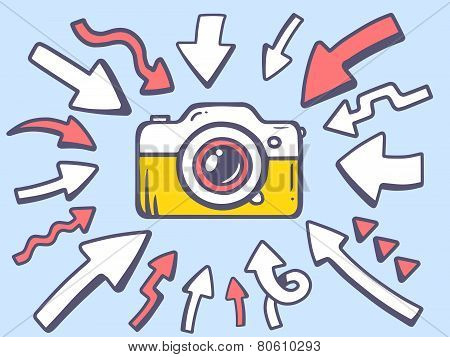 Illustration Of Arrows Point To Icon Of Photo Camera On Gray Background.
