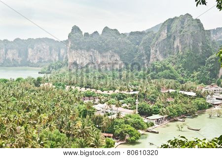 Panorama Of Beatiful Railay Bay From Viewpoint (krabi, Thailand)