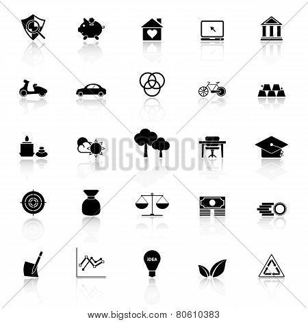 Sufficient Economy Icons With Reflect On White Background