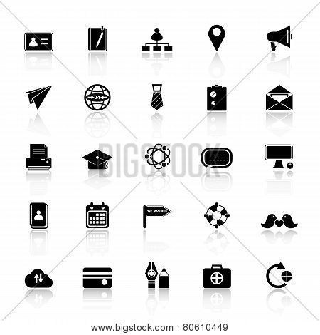 Contact Connection Icons With Reflect On White Background