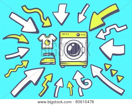 Illustration Of Arrows Point To Icon Of Washing Machine On Blue Background.