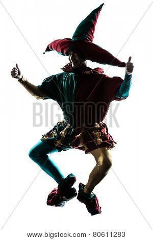 one  man in jester costume jumping silhouette in studio isolated on white background