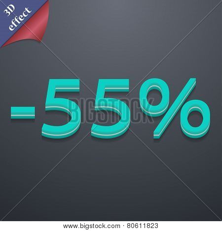 55 Percent Discount Icon Symbol. 3D Style. Trendy, Modern Design With Space For Your Text Vector
