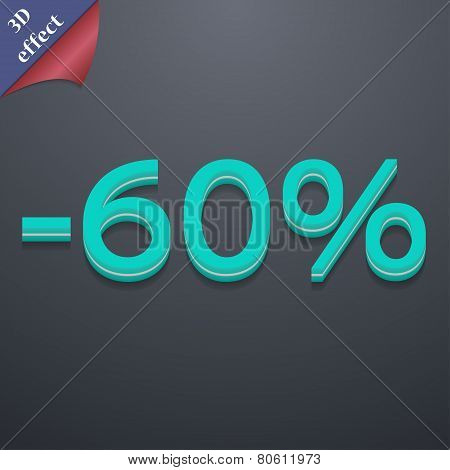 60 Percent Discount Icon Symbol. 3D Style. Trendy, Modern Design With Space For Your Text Vector