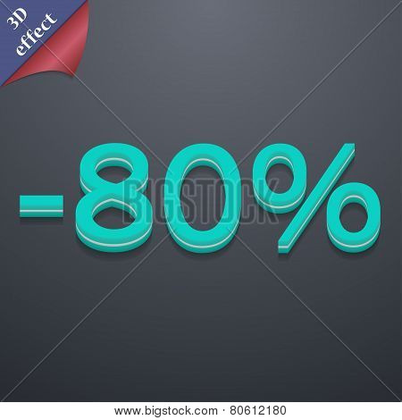 80 Percent Discount Icon Symbol. 3D Style. Trendy, Modern Design With Space For Your Text Vector
