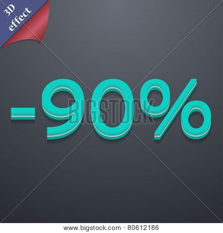 90 Percent Discount Icon Symbol. 3D Style. Trendy, Modern Design With Space For Your Text Vector