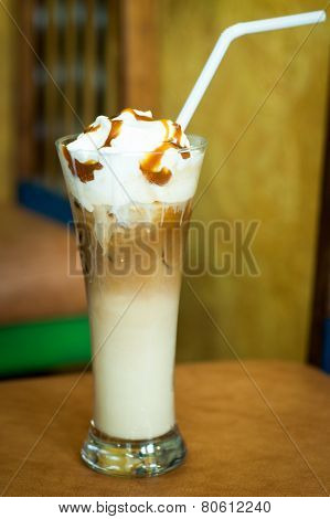 Cold Creamy Coffee In Hight Glass