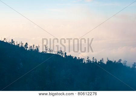 View Forest Silhouette In The Monuntains Of Kawah Ijen, Indonesia
