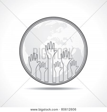 Hand background with earth stock vector