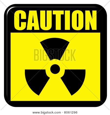 3D Caution Radioactive Sign