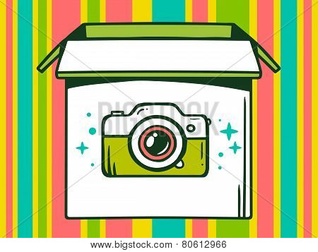 Illustration Of Open Box With Icon Of  Photo Camera On Color Striped Pattern Background.