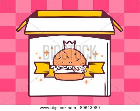 Illustration Of Open Box With Icon Of  Big Burger With Crown On Pink Pattern Background.