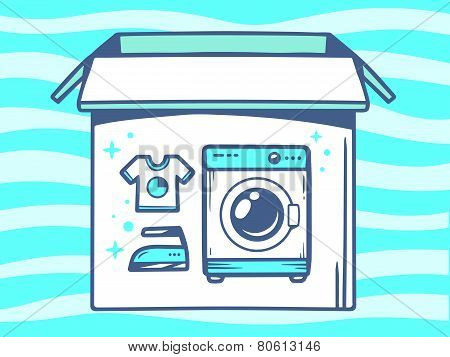 Illustration Of Open Box With Icon Of  Washing Machine On Blue Pattern Background.