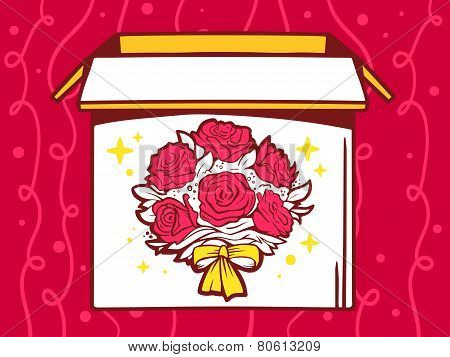 Illustration Of Open Box With Icon Of  Bouquet Of Flowers On Red Pattern Background.