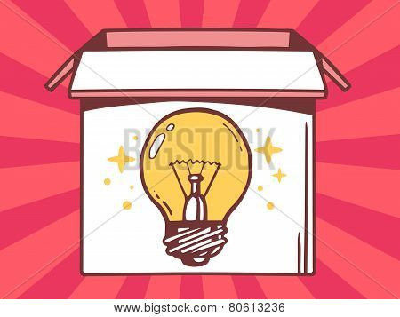 Illustration Of Open Box With Icon Of  Bulb Light On Red Pattern Background.
