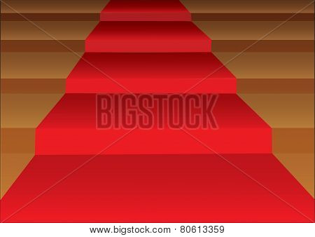 Red Carpet Stairsteps Vector Illustration