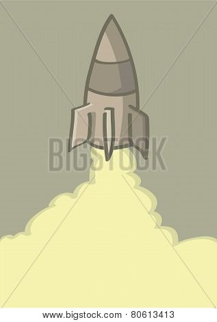 Rocket Launch Vector Cartoon Illustration