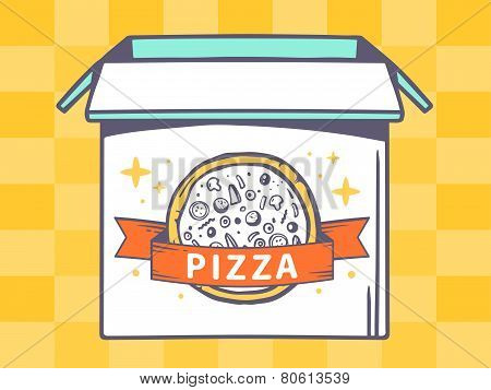 Illustration Of Open Box With Icon Of  Pizza On Yellow Pattern Background.