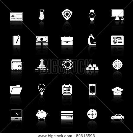 Businessman Item Icons With Reflect On Black Background