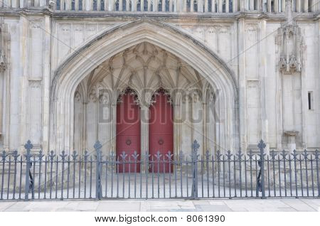 Entrance And Old Doors Of Winchester Cathedral Uk