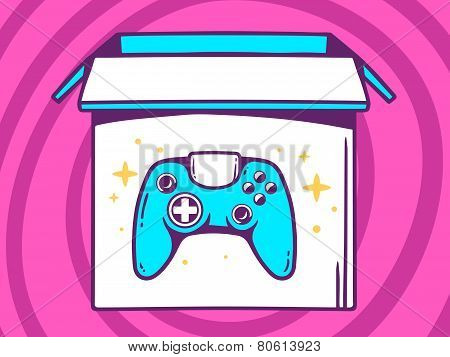 Illustration Of Open Box With Icon Of  Joystick On Pink Pattern Background.