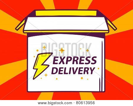 Illustration Of Open Box With Icon Of  Express Delivery On Red Pattern Background.