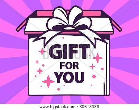 Illustration Of Open Box With Icon Of  Gift For You On Purple Pattern Background.