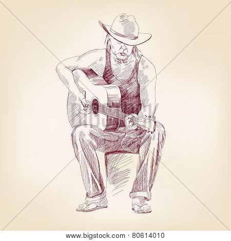 guitarist hand drawn vector llustration realistic sketch
