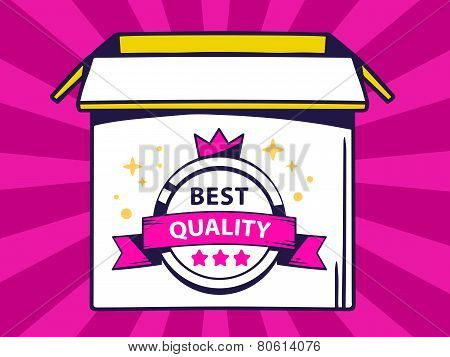 Illustration Of Open Box With Icon Of  Label Best Quality On Pink Pattern Background.