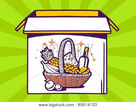 Illustration Of Open Box With Icon Of  Basket With Food On Green Pattern Background.