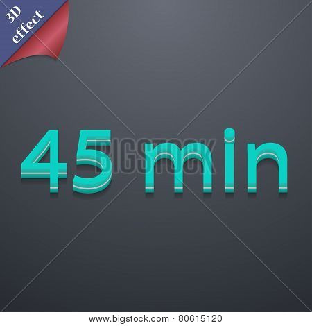 Forty-five Icon Symbol. 3D Style. Trendy, Modern Design With Space For Your Text Vector