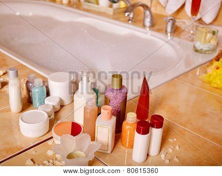 Home bathroom interior with bubble bath.