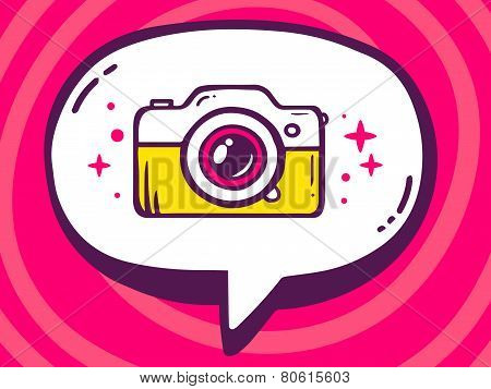 Illustration Of Bubble With Icon Of Photo Camera On Pink Pattern Background.