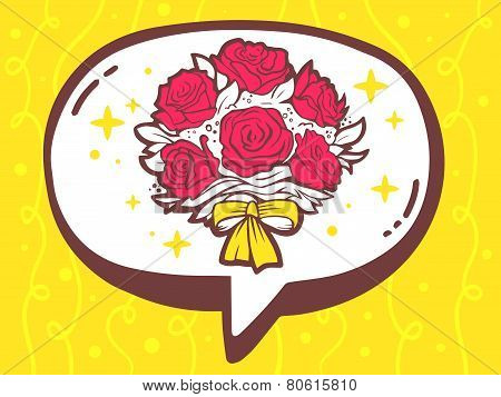 Illustration Of Bubble With Icon Of Bouquet Of Flowers On Yellow Pattern Background.