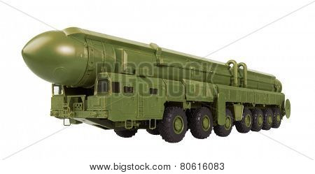 Intercontinental ballistic missile Topol-M, isolated on a white background. Model