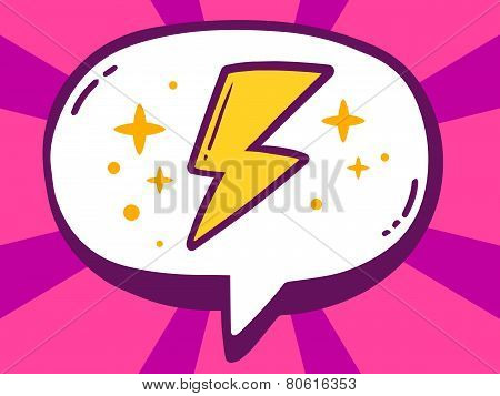Illustration Of Speech Bubble With Icon Of Lightning On Pink Pattern Background.