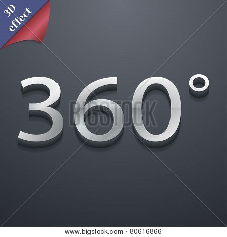 Angle 360 Degrees Icon Symbol. 3D Style. Trendy, Modern Design With Space For Your Text Vector