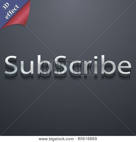 Subscribe Icon Symbol. 3D Style. Trendy, Modern Design With Space For Your Text Vector