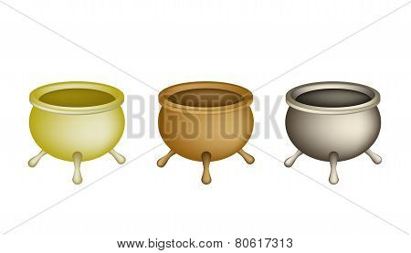 Three Joss Stick Pots on White Background