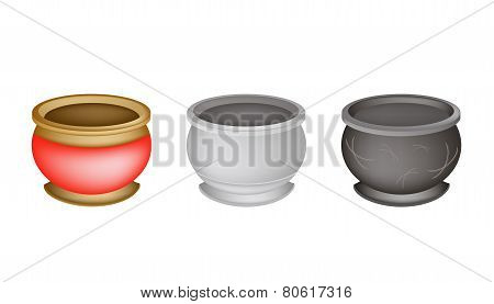 Three Chinese Incense Burner on White Background