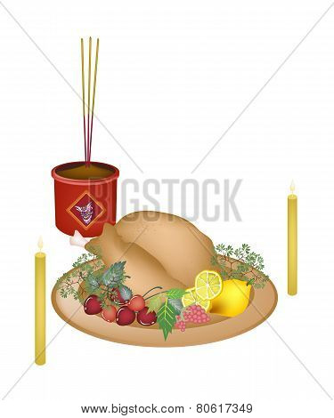 Roast Chicken with Fruits for New Year Worship