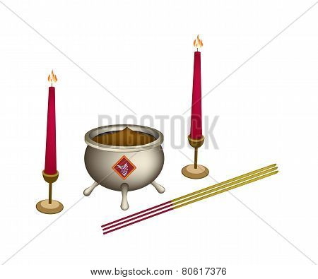 Candle and Joss Stick with Incense Burner