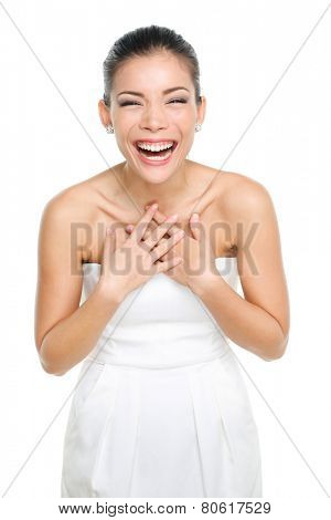 Laughing happy Asian Chinese woman. Joyful expression of emotion by a beautiful asian young lady. Isolated on white background.