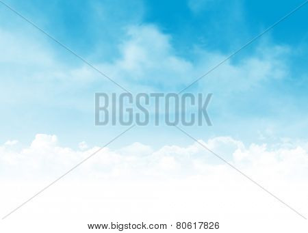 Blue sky and clouds abstract background illustration with copy space