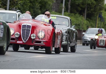Mille miglia history race vintage car in fano
