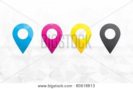 Cmyk Colored Pins To Determine The Position On The Map In The Background Triangular